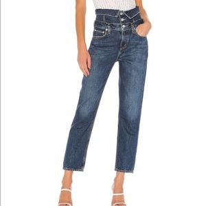 Agolde Vanna Corset Belted Fold Over Jeans
